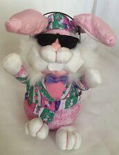 Cool Dude Jiving Music Easter Bunny Multi Color Plush Black Sun Glasses Headset