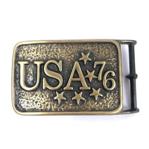 USA-76-United-States-of-America-Bicentennial-Patriotic-1970s-Vintage-Belt-Buckle