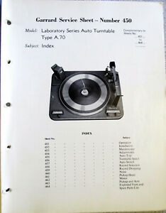GARRARD-TYPE-A-70-TURNTABLE-SERVICE-MANUAL-ORIGINAL-MANY-PAGES-IF-USEFUL-INFO