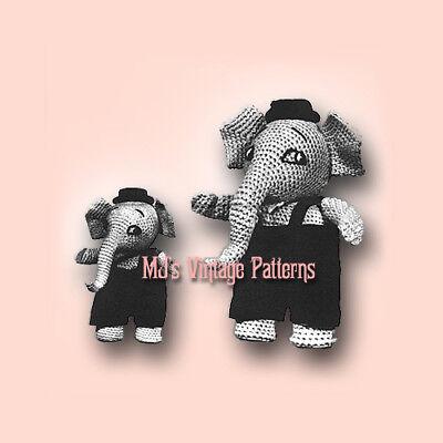 Vintage Crochet Pattern ~ Elephants Stuffed Animal wearing Overalls ~ Pete /& Pop