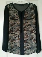 A.n.a. Sheer Camo Print Blouse Solid Black Sleeves & Back Tie Neckline Sz S