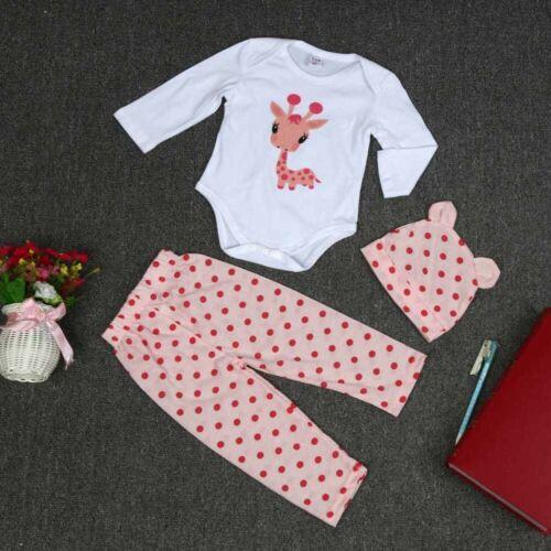 3PC Cute Baby Boy Girl Newborn Hat+Romper Jumpsuit+Pants Outfit Clothes Set Suit