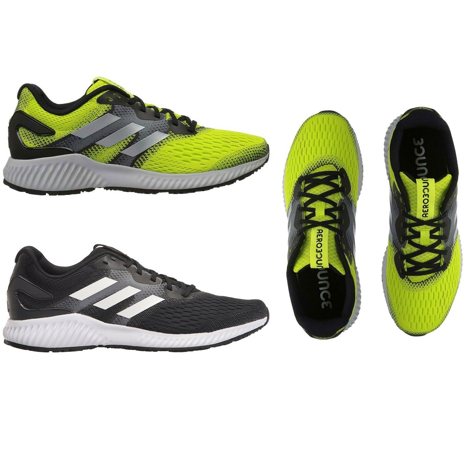 Adidas hommes Athletic AeroBounce M Running Chaussures Sneakers NEW Core noir /blanc