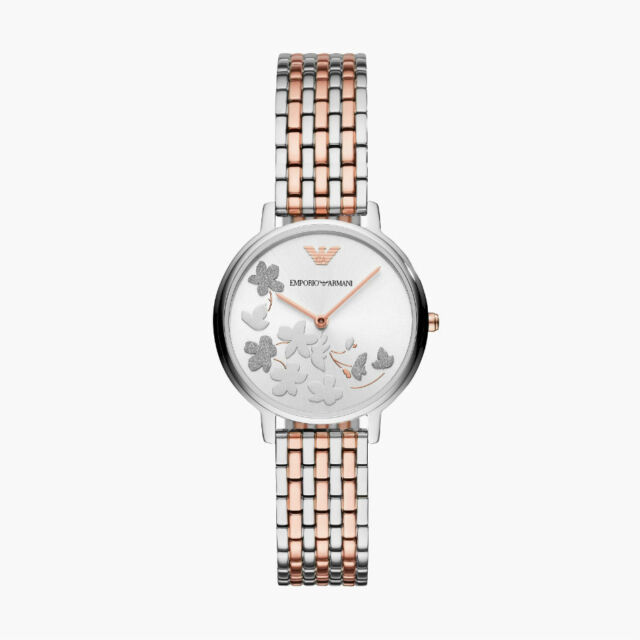 226cc32f6007c Emporio Armani Silver and Rose Gold Tone Sunray 31mm Dial Watch AR11113