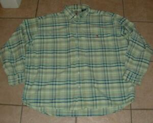 DUCK-HEAD-Mens-2XL-XXL-50-52-Green-Plaid-Button-Down-Long-Sleeve-Oxford-Shirt