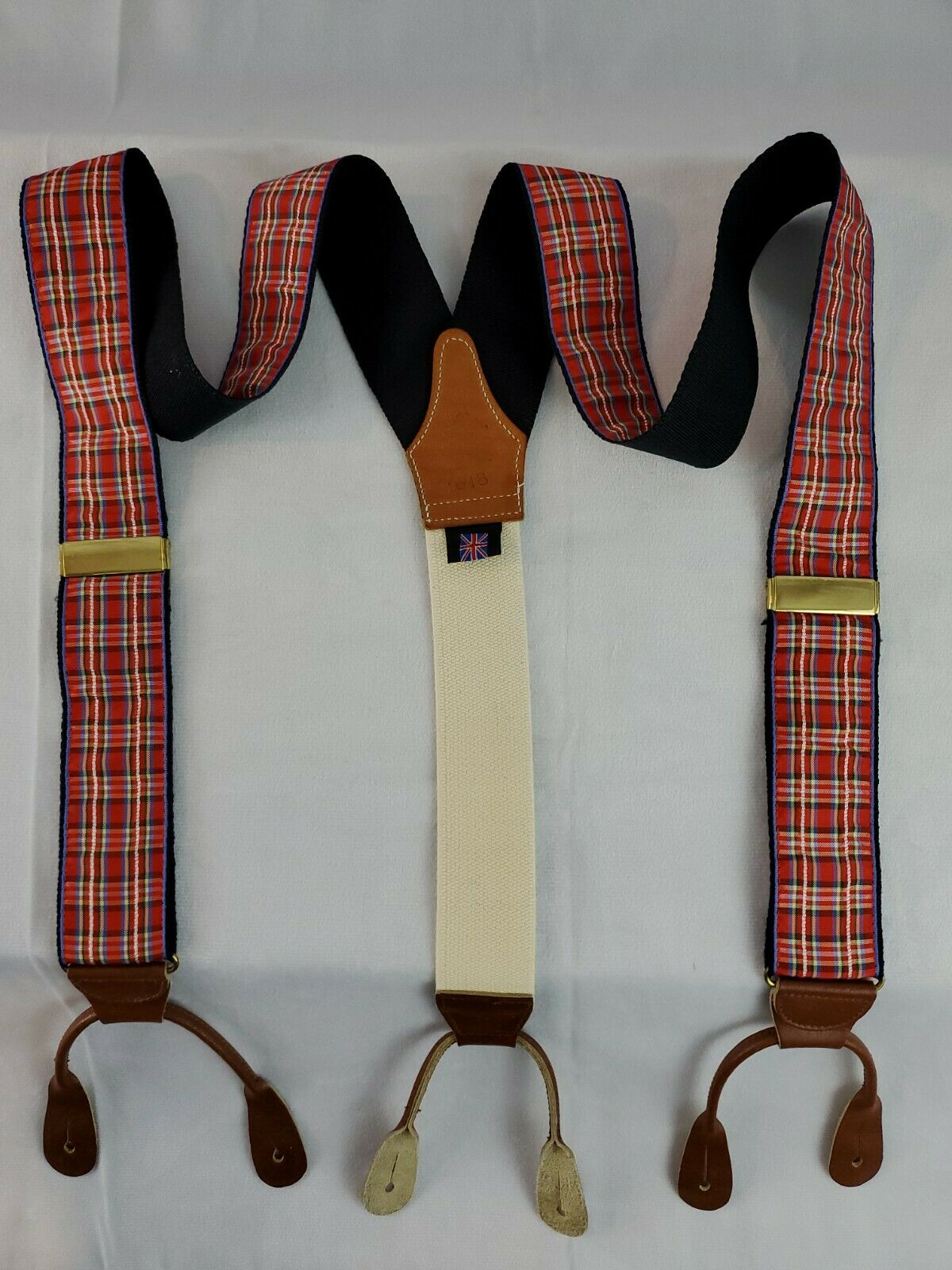 BROOKS BROTHERS Suspenders - Red Plaid - Leather Tabs - England - Free Shipping