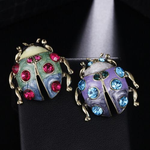 Belle Alliage coccinelle insecte Strass Broche épinglette Women Fashion Jewelry