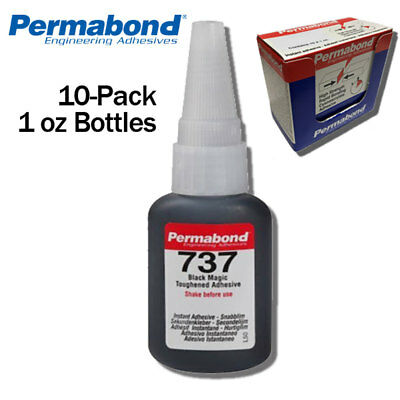Permabond 737 1oz 10-pack Black Magic Toughened Flexible Temp-resistant Gel