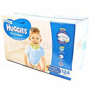 Huggies Ultra Dry Boys Nappies Junior 124 Disposable Size 16kg+ JUMBO PACK