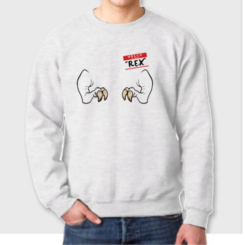 Hello My Name Is REX T-shirt Funny Tyrannosaurus Rex Dinosaur Crew Sweatshirt