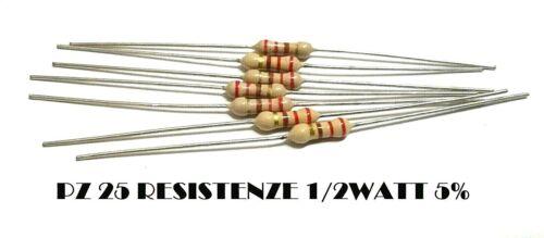 PZ 25 Resistance 220 Ohm 1//2w Watt 5/% Layer Coal Wire Axial