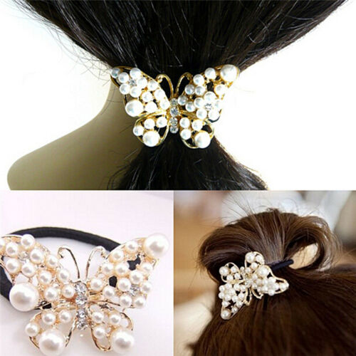 Crystal Rhinestone Pearl Flower Hair Band Rope Elastic Ponytail Holder PVCA