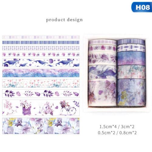 10Rolls//set Washi Tape DIY Decorative Scrapbooking Paper Adhesive Sticker yghi
