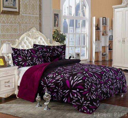 3 Piece Purple Flannel Plush Sherpa Borrego Blanket King Size 7 lbs
