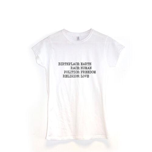 Geburtsort Erde Damen T-Shirt Spruch auf Kleidung Geschenk Yoga Geschenk