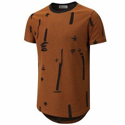 Mens Casual Summer Solid Short Sleeve Crewneck T-Shirt Fashion Hipster Hip Hop Ripped Round Hemline T Shirt