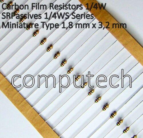 51 Ohm 50 Resistenze CF1//4WS miniature type a strato di carbone 51R 1//4W ±5/%