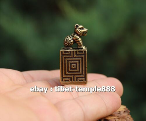 4 CM Chinese Pure Brass Lucky zodiac Animal Tiger Sculpture seal stamper signet