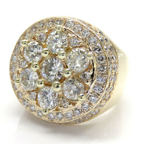 4-50ct-Mens-14k-Yellow-Real-Gold-si2-Big-Diamond-Cluster-Ring