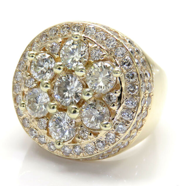 4.50ct Mens 14k Yellow Real Gold si2 Big Diamond Cluster Ring