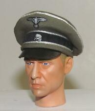 In The Past Toys 1//6 scale WWII Toy German Officers black cap silver piping