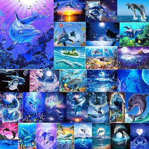 5D DIY Diamond Painting Sea Dolphin Cross Stitch Embroidery Mosaic Home Decor
