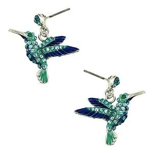 Image Is Loading Hummingbird Earrings Teal Blue Crystal White Gold Plated