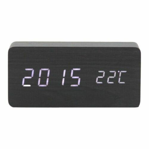 Wooden LED Digital Alarm Clock Voice Control Desk Table Calendar Thermometer USB