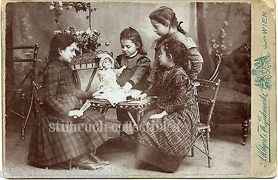 4 sweet GIRL FRIENDS or SILBLINGS KESTNER DOLL antique CAB large CABINET CARD