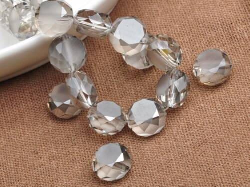 Wholesale 12X7mm Rondelle Flat Faceted Crystal Glass Loose Spacer Beads Jewelry