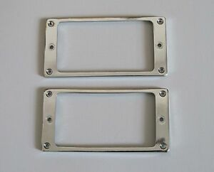 2x-Chrome-Metal-Flat-Bottom-Humbucker-Guitar-Pickup-Ring-Pickup-Frames
