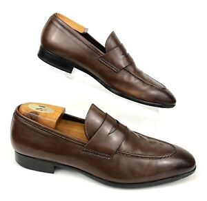 76bcac27e4c Image is loading SANTONI-Italy-Atwater-Brown-Leather-Apron-Toe-Slip-