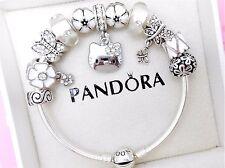 Authentic Pandora Silver Bangle Charm Bracelet With Hello Kitty European Charms.