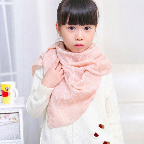 Autumn Winter Fashion Girls Boys Kids Flower Grid Warm Soft Scarf Shawl 6A