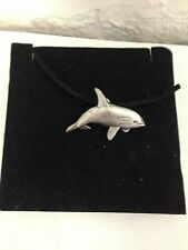 Orca R73 English Pewter Emblem on a Black Cord Necklace Handmade