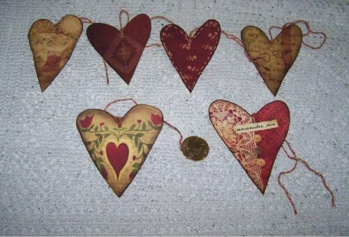 Valentine/'s Day~Primitive~Hearts~Linen Cardstock~Gift~Hang~Tags