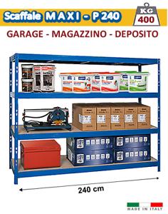 Scaffali X Garage.Dettagli Su Scaffale Metallo Kit 240 Cm Per Garage E Magazzino 400 Kg