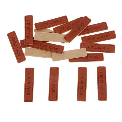 20 stücke Handmade Patchwork Etiketten PU DIY Nähen label tuch Etiketten