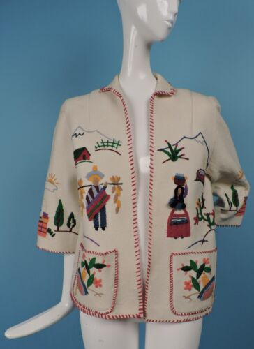 VINTAGE 1940'S MEXICAN HAND EMBROIDERED WHITE WOOL