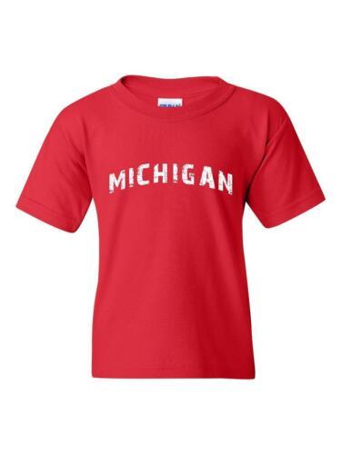 Michigan Map Detroit MI Flag Wolverines Home of University Youth/&Kids T-Shirt