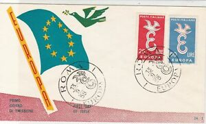 Italy 1958 Europa Flag & Dove of Peace Roma Cancel FDC Stamps Cover ref 22390
