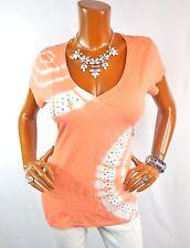 INC Womens Top L Coral White Tie Dye Shirt Studs Short Slv Summer Blouse V Neck