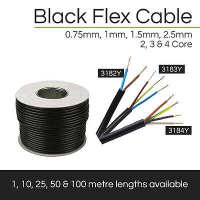 ALL BLACK FLEXIBLE CABLE 2 CORE- 4 CORE FLEX 0.75MM- 2.5MM X1M,10M,25M,50M,100M