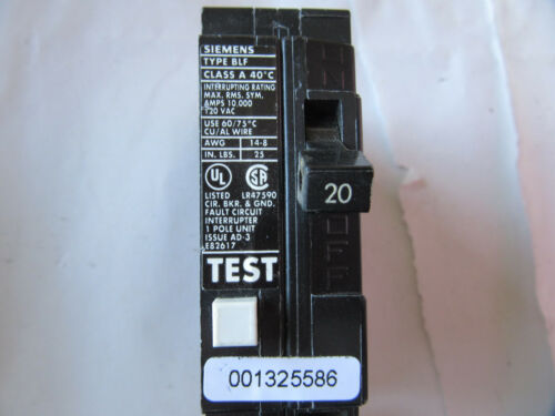 Siemens BLF120GFIC Circuit Breaker with Ground Fault 1P 20A 120//240V VGC!!!