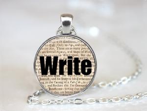 Écrire Vintage Journal Style écrivain poète Tibet pendentif en argent chaîne Collier