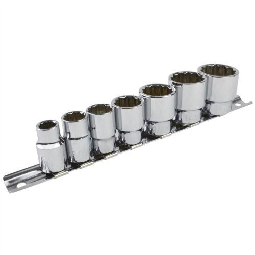 """Whitworth BSW 3//8/"""" drive shallow sockets 7pc set 1//8/""""-1//2/"""" bi hex LSR2 BSF"""