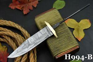 Custom Damascus Steel Blank Blade Hunting Knife Handmade, Brass Bolster (H994-B)