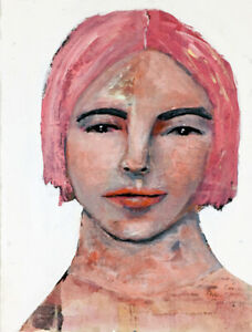 Original Acrylic Mixed Media Collage Pink Hair Girl Painting Katie Jeanne Wood