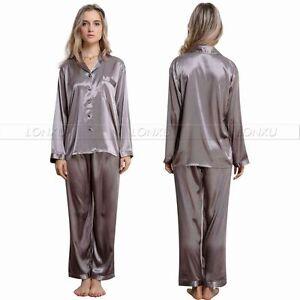 Women Silk Satin Pajamas Pyjamas Set Sleepwear Loungewear S M L XL 2XL 3XL Plus