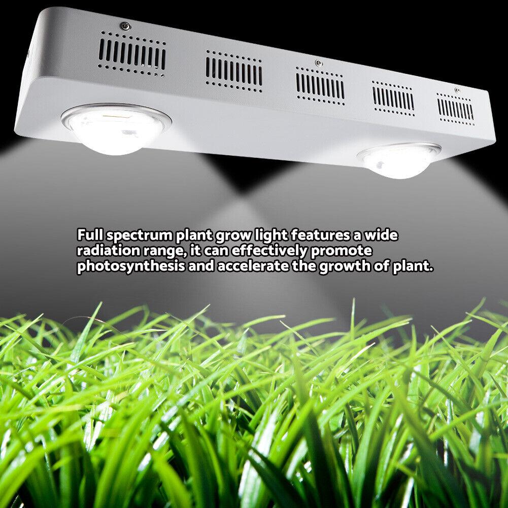 200W COB Vollspektrum Pflanzenlampe Wachstumslampe Gemüse Lüfter System Weiß DP